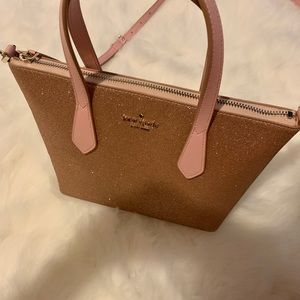 Kate Spade Rose gold glitter joeley small bag